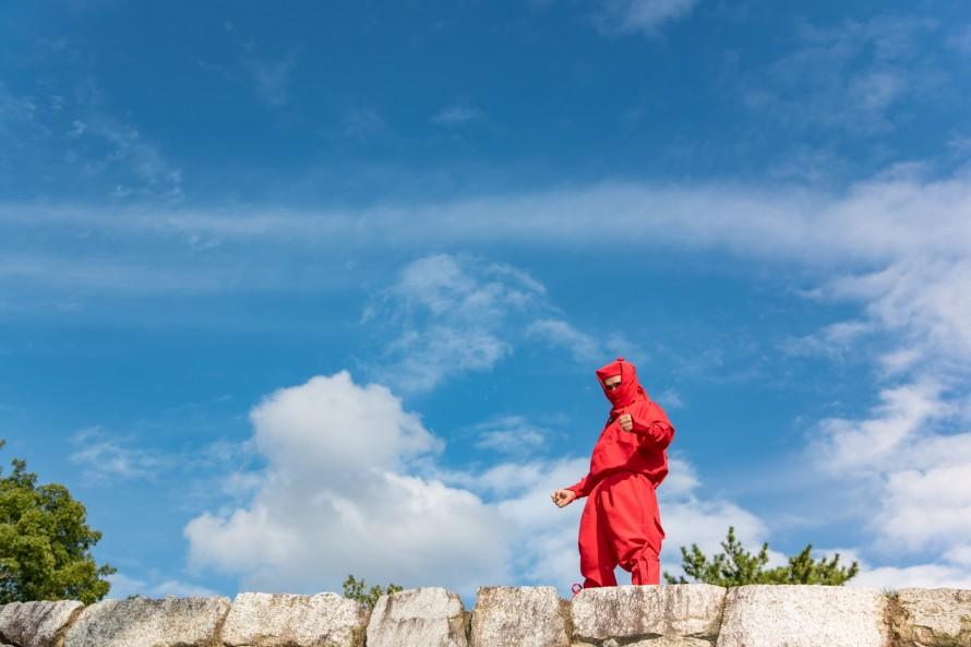 伊賀上野城の石垣に現れた忍者